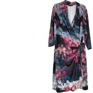 2X Isabel + Alice Print Faux Wrap Dress